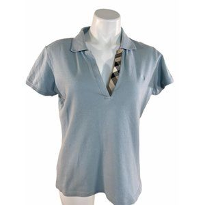 Burberry London Baby Blue V Neck Polo - Large